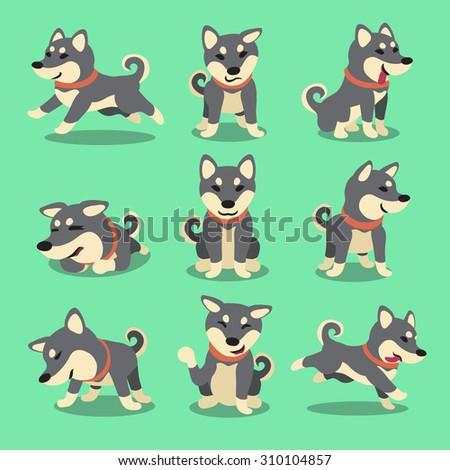 Cartoon character black shiba inu dog poses - stock vector