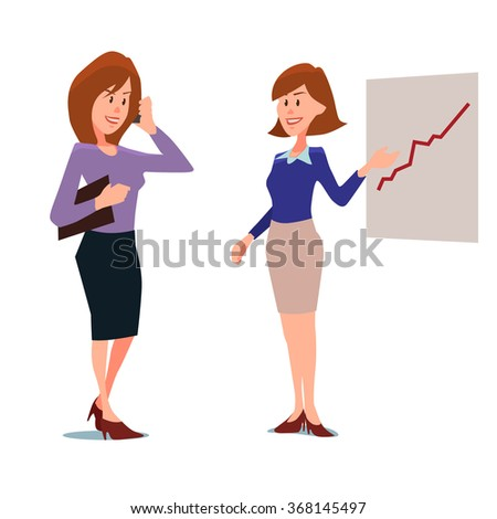 cartoon character, business woman with phone and show something, in various poses, vector illustration, investor - stock vector