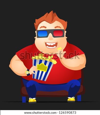 Cartoon Character Cheerful Chubby Men. Movie. Vector Illustration. EPS 10. - stock vector