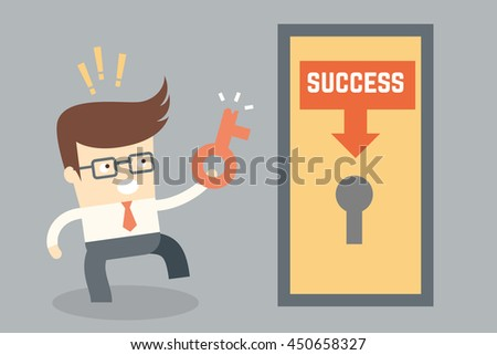 cartoon character conceptual design for key success failure - stock vector
