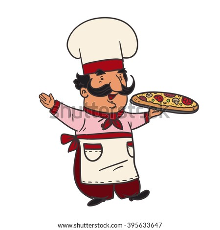 Cartoon character cook chef pizza. Vector color illustration. - stock vector