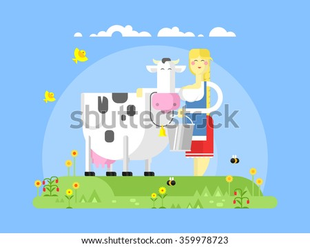Cartoon character cow and milkmaid - stock vector