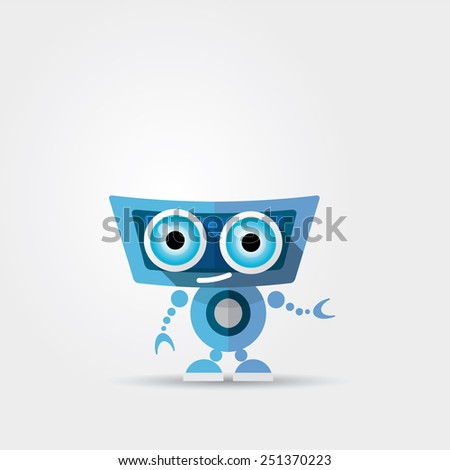 Cartoon Character Cute blue Robot Isolated on Grey Gradient - stock vector