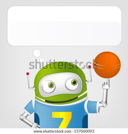 Cartoon Character Cute Robot Isolated on Grey Gradient Background. Basketball. Vector EPS 10. - stock vector