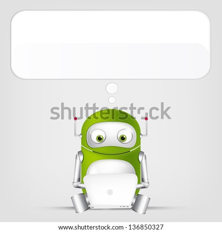 Cartoon Character Cute Robot Isolated on Grey Gradient Background. Coder. Vector EPS 10. - stock vector