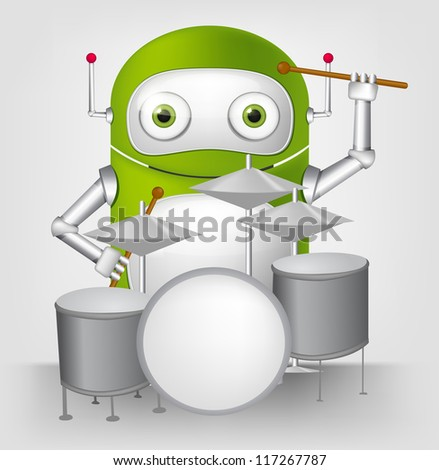 Cartoon Character Cute Robot Isolated on Grey Gradient Background. Drummer. Vector EPS 10. - stock vector