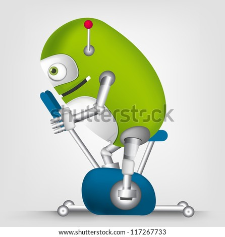 Cartoon Character Cute Robot Isolated on Grey Gradient Background. Gym. Vector EPS 10. - stock vector