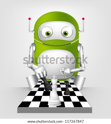 Cartoon Character Cute Robot Isolated on Grey Gradient Background. ??hessplayer. Vector EPS 10. - stock vector