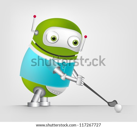 Cartoon Character Cute Robot Isolated on Grey Gradient Background. Hockey. Vector EPS 10. - stock vector