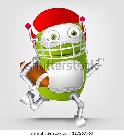 Cartoon Character Cute Robot Isolated on Grey Gradient Background. Rugby. Vector EPS 10. - stock vector