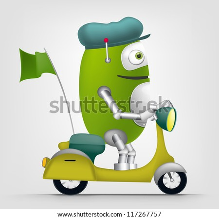 Cartoon Character Cute Robot Isolated on Grey Gradient Background. Scooter . Vector EPS 10. - stock vector