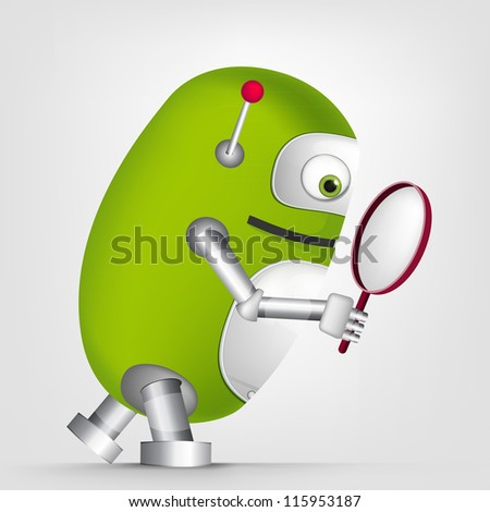 Cartoon Character Cute Robot Isolated on Grey Gradient Background. Search. Vector EPS 10. - stock vector