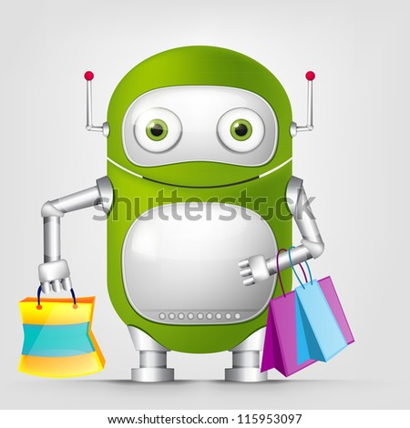Cartoon Character Cute Robot Isolated on Grey Gradient Background. Shopping. Vector EPS 10. - stock vector