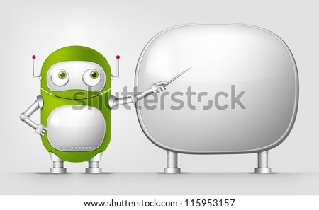 Cartoon Character Cute Robot Isolated on Grey Gradient Background. Showing. Vector EPS 10. - stock vector