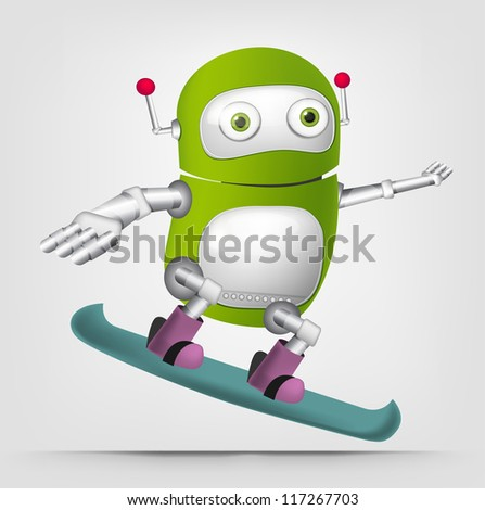 Cartoon Character Cute Robot Isolated on Grey Gradient Background. Snowboarding. Vector EPS 10. - stock vector