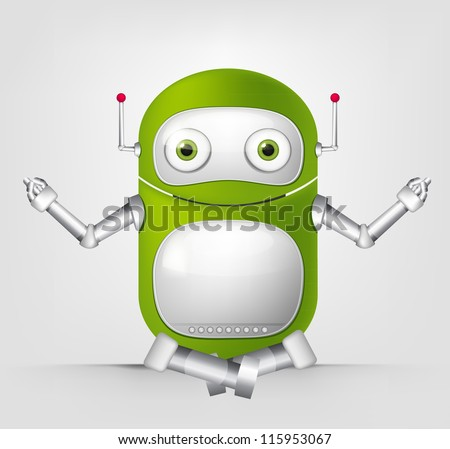 Cartoon Character Cute Robot Isolated on Grey Gradient Background. Yoga. Vector EPS 10. - stock vector