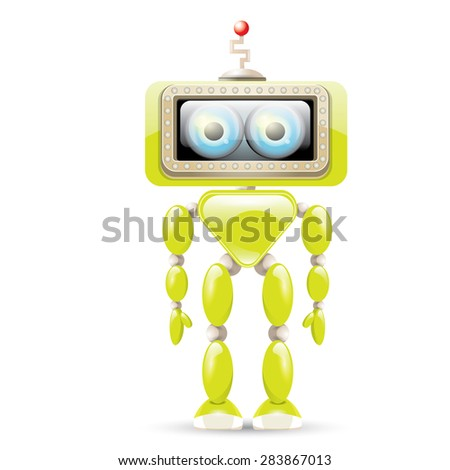 Cartoon Character Cute Robot Isolated on white - stock vector