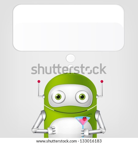 Cartoon Character Cute Robot on Grey Gradient Background. Cocktail. Vector EPS 10. - stock vector