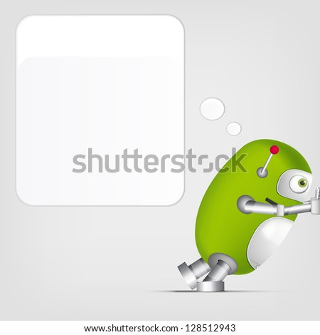 Cartoon Character Cute Robot on Grey Gradient Background. Pushing. Vector EPS 10. - stock vector