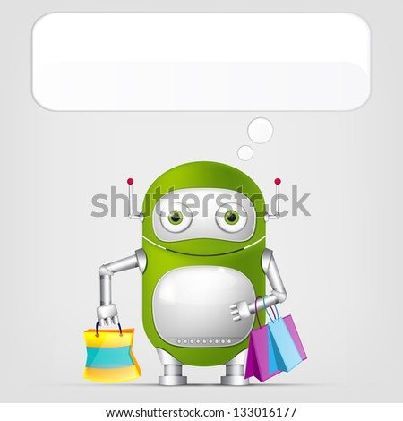 Cartoon Character Cute Robot on Grey Gradient Background. Shopping. Vector EPS 10. - stock vector