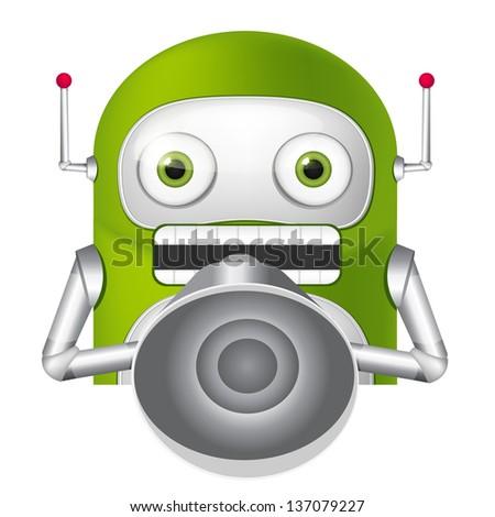 Cartoon Character Cute Robot. Speaker. Vector EPS 10. - stock vector