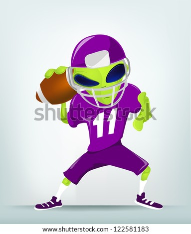 Cartoon Character Funny Alien Isolated on Grey Gradient Background. Rugby. Vector EPS 10. - stock vector