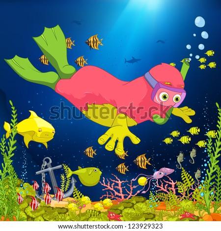 Cartoon Character Funny Monster. Vector Illustration. EPS 10. - stock vector