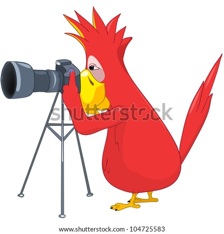 Cartoon Character Funny Parrot Isolated on White Background. Photographer. Vector EPS 10. - stock vector