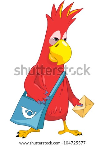Cartoon Character Funny Parrot Isolated on White Background. Postman. Vector EPS 10. - stock vector