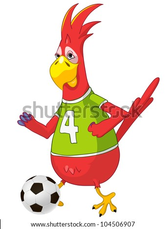 Cartoon Character Funny Parrot Isolated on White Background. Soccer. Vector EPS 10. - stock vector
