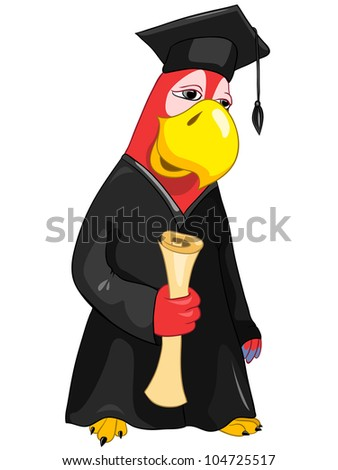 Cartoon Character Funny Parrot Isolated on White Background. Student. Vector EPS 10. - stock vector