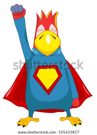 Cartoon Character Funny Superparrot Isolated on White Background. Vector EPS 10. - stock vector