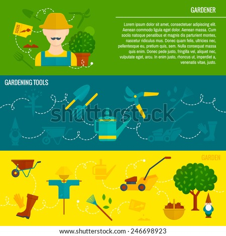 Cartoon character gardener cultivate vegetables from seeds  horizontal flat banners set with tools abstract isolated vector illustration - stock vector