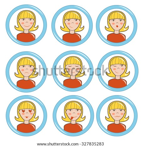 Cartoon character girl with a different expression of emotions, vector illustration - stock vector