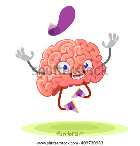 cartoon character mascot of the brain in cap jumping with joy - stock vector