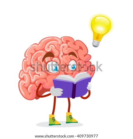 cartoon character mascot of the brain reads a purple book - stock vector