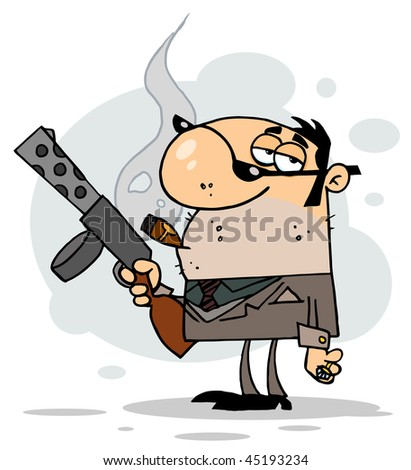Cartoon Character Mobster Carries Weapon,background - stock vector