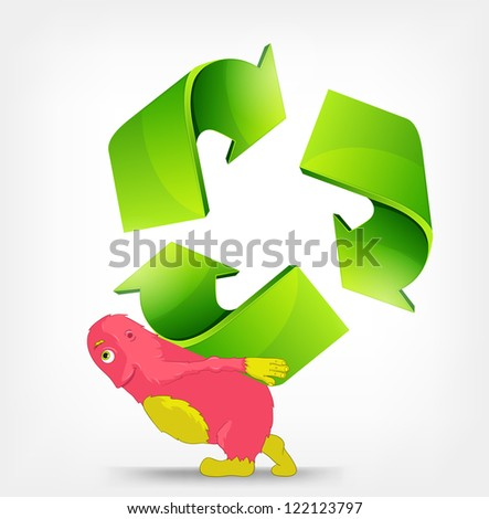 Cartoon Character Monster carrying Recycle Sign. Vector EPS 10. - stock vector