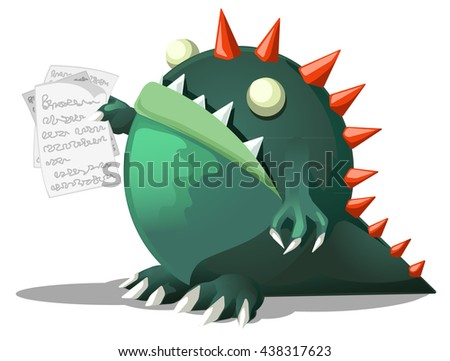 Cartoon character monster holding papers, vector illustration, horizontal, isolated, over white  - stock vector