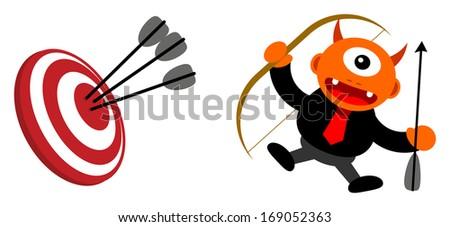 cartoon character monster in business activity - stock vector