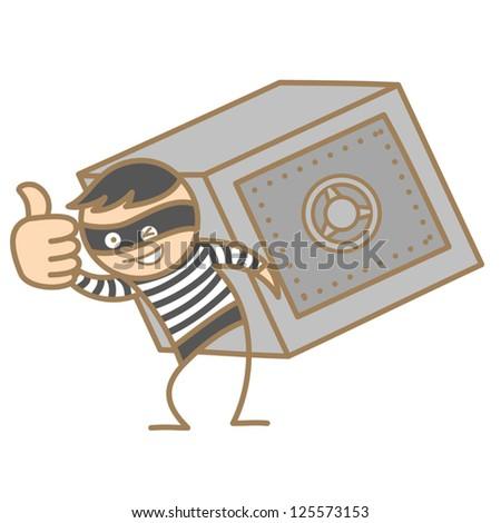 cartoon character of burglar carrying money box - stock vector