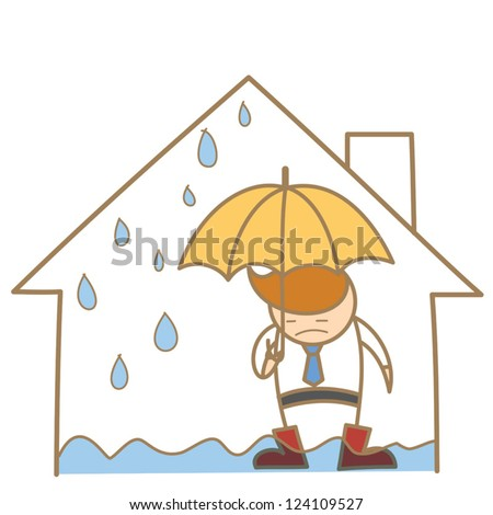 cartoon character of man in the leak roof house - stock vector