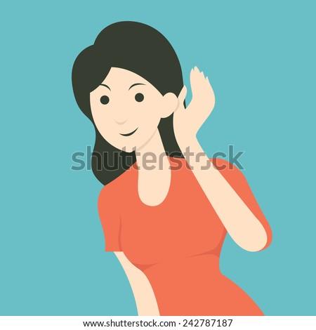Cartoon character of woman listening to gossip or hearing news. Flat design.  - stock vector