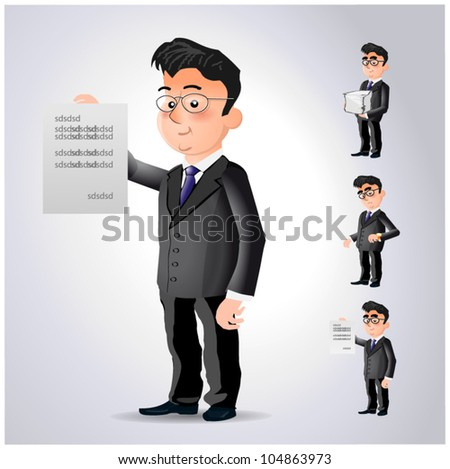 Cartoon character office worker in different situations - stock vector