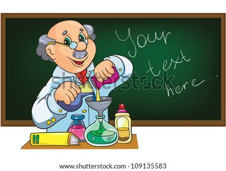 cartoon   character scientist in laboratory near the  blackboard - stock vector