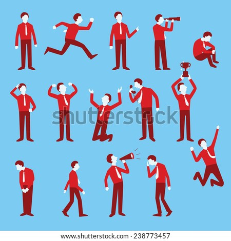 Cartoon character set of businessman in various poses, trendy flat design with simple style.  - stock vector