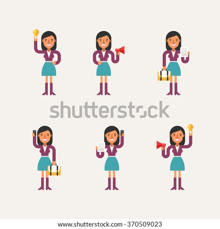 Cartoon Character Set of Businesswoman in Various Poses. Flat Style Vector Illustration - stock vector