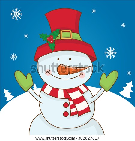 Cartoon character snowman on winter landscape. vector - stock vector
