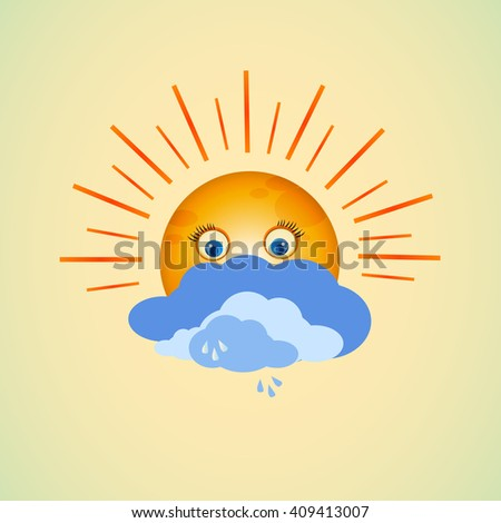 cartoon character sun girl illustration. emotions face. Illustration faces showing different emotions. emoticon crying. face icons. smiley surprise.  vector smiley icons. - stock vector