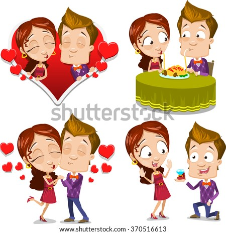 Cartoon character vector set of young couple kissing, making proposal, bringing breakfast, having dinner and love each other. Isolated on white background - stock vector